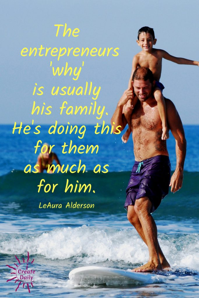 Artist Entrepreneur's Family is His/Her 'Why'. #Artists #Entrepreneurs #ArtistQuotes #EntrepreneurQuotes #iCreateDaily #FamilyBusiness #FamiliesThatWorkTogether