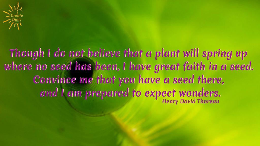 EXPECT WONDERS - Thoreau quote. #IdeationTools #Ideas #ThoreauQuotes #Quotes #InspiringQuotes #Ideas #wonder #iCreateDaily
