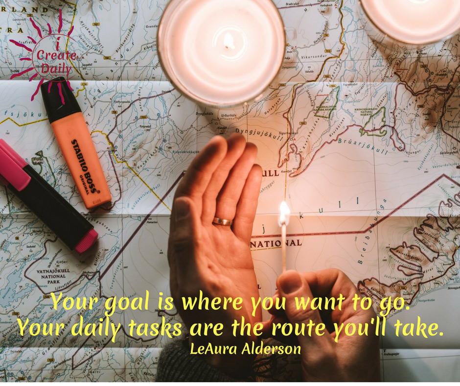 Your goal is where you want to go. Your daily tasks are the route you'll take. ~LeAura Alderson, iCreateDaily 90 Day Goals Journal #Quotes #AchieveYourGoals #SettingGoals #DailyGoals #Motivation #Inspiration
