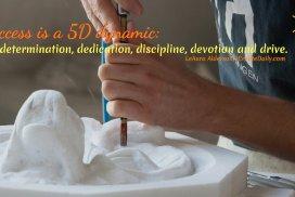 Success is 5D: Determination, dedication, discipline, devotion and drive. ~LeAura Alderson, Cofounder-iCreateDaily.com® #Determination #Dedication #Discipline #Devotion #PersonalDevelopment #BestSelf #AchiveYourGoals