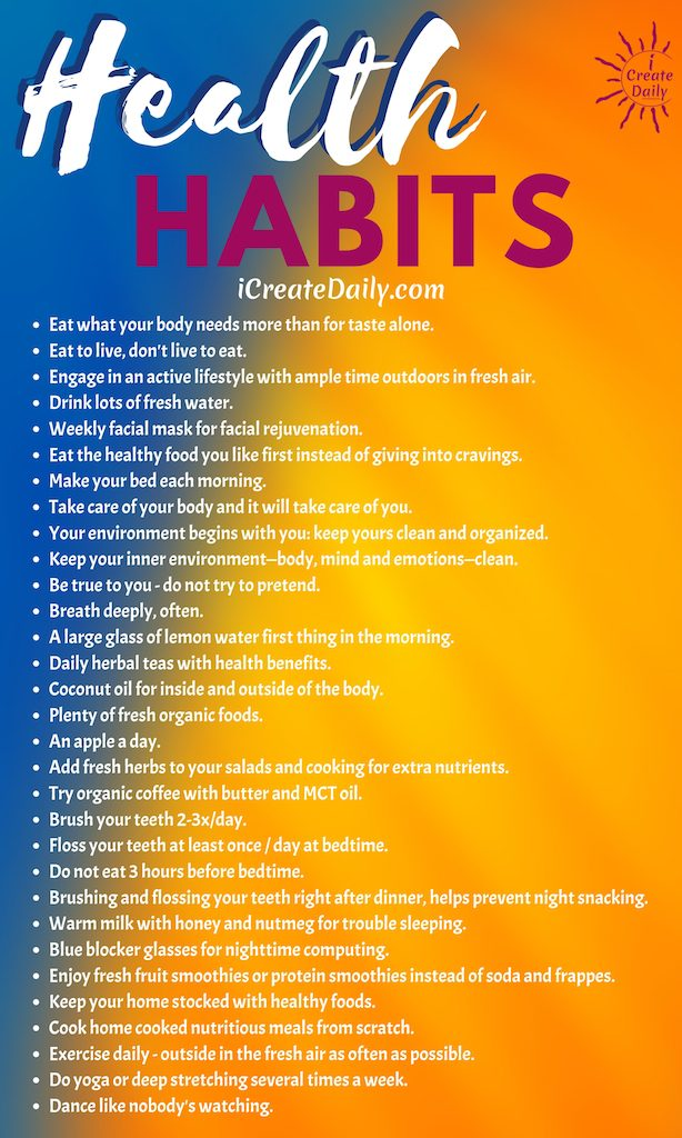 Good Health Habits List - because your best health is essential! #GoodHealthList #HealthHabits #LifeGoals #GoodHabits #HealthyHabits #HabitsQuotes #GoodHabitsList