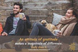 An attitude of gratitude makes a magnitude of difference. Daily does it. ~LeAura Alderson, iCreateDaily.com® #GratitudeQuote #Attitude #PersonalDevelopment #BenefitsOfGratitude #iCreateDaily