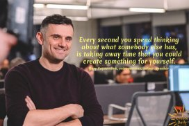 Every second you spend thinking about what somebody else has, is taking away time that you could create something for yourself. ~Gary Vaynerchuk, magnate, influencer, author, b.11/14/1975 #GaryVaynerchukQuotes #GaryVeeQuotes #FOMOQuote #Inspiration #Encouragement #DontCompare #QuotesHustle #CrushingIt